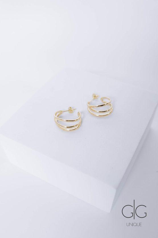 Triple gold plated hoop earrings - GG Unique