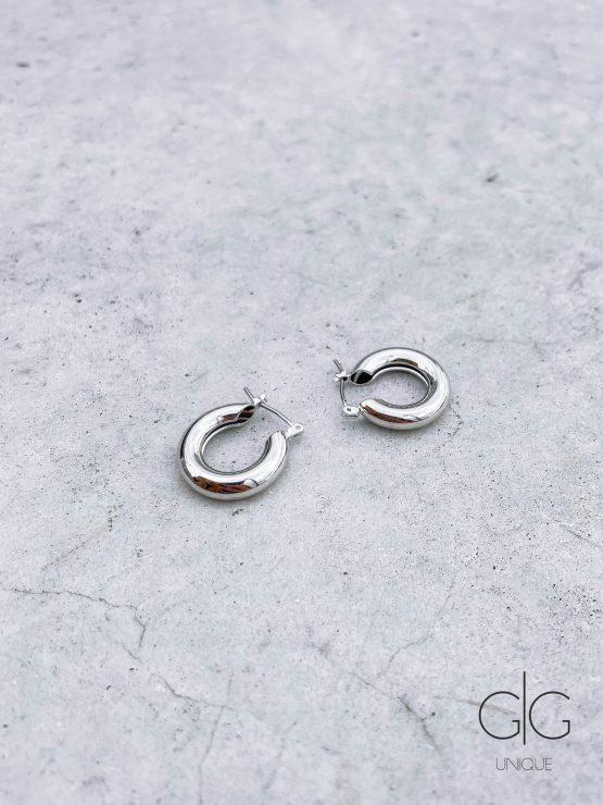 Simple silver plated hoop earrings - GG Unique