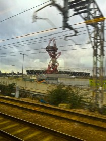 We pass the ArcelorMittal Orbit. It's hideous. I never liked it. But I'm excited to see it.