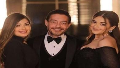 صورة زوجة أحمد زاهر وبناته يحتفلن بعيد ميلاده