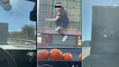"""صورة فيديو خطير.. شباب في """"لوطوروت"""" يتسلقون شاحنة لسرقة الليمون يهز الفايسبوك- فيديو"""