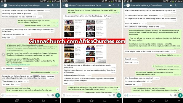Nana Frankie and Obaapa Christy's Manager Quame Daqua WhatsApp Chatting