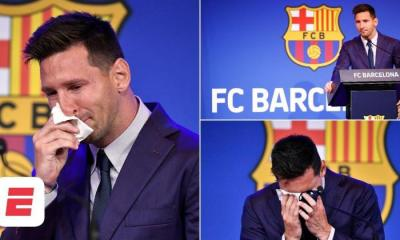 Lionel Messi Breaks Down In Tears During His Barcelona Farewell Press Conference (Video)