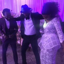 Akwaboah, Peter Okoye and Becca at Sarkodie and Tracy's white wedding held at Labadi Beach Hotel in Accra on Saturday, July 21.