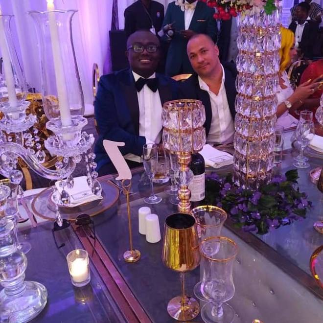 Bola Ray at Sarkodie and Tracy's white wedding held at Labadi Beach Hotel in Accra on Saturday, July 21.