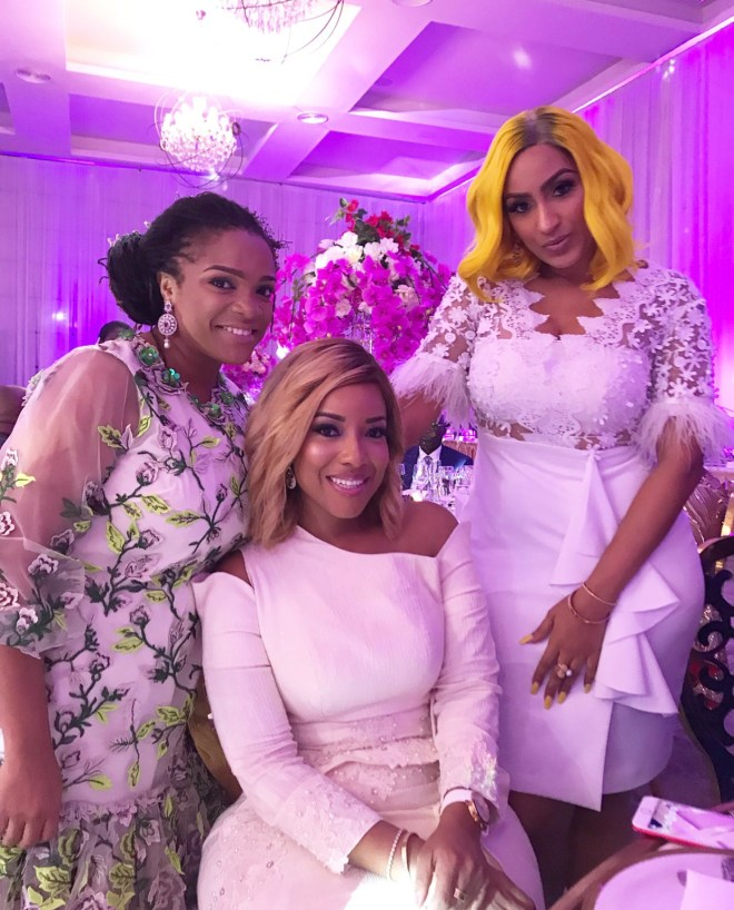 Juliet Ibrahim and Joselyn Dumas at Sarkodie and Tracy's white wedding held at Labadi Beach Hotel in Accra on Saturday, July 21.