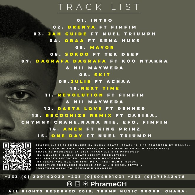 "Phrame's ""Brenya"" tracklist"