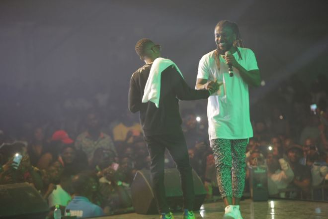 Wizkid and Samini at Glo Mega Show