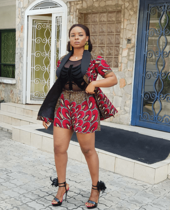 Yemi Alade served style goals in this two-piece African print pant and jacket