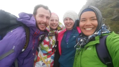 At the top of Snowdon with old and new friends