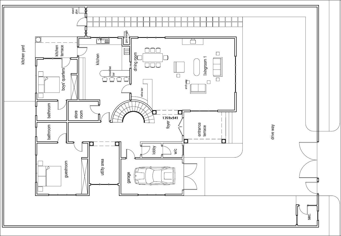 Ghana House Plans Odikro House Plan