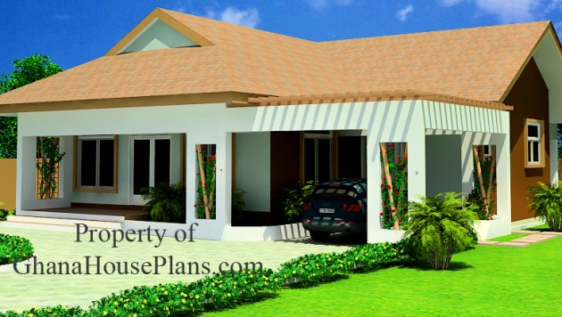 Two Bedrooms House Plan for Ghana  Nigeria  Liberia   All African aku sika 2 bedroom single storey family Ghana house for sale