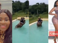 VIDEO: Medikal Carries Fella Makafui's Heavy 'Loads' And Bang Them In Swimming Pool