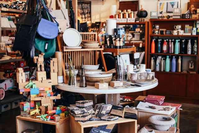 table with various goods in shop