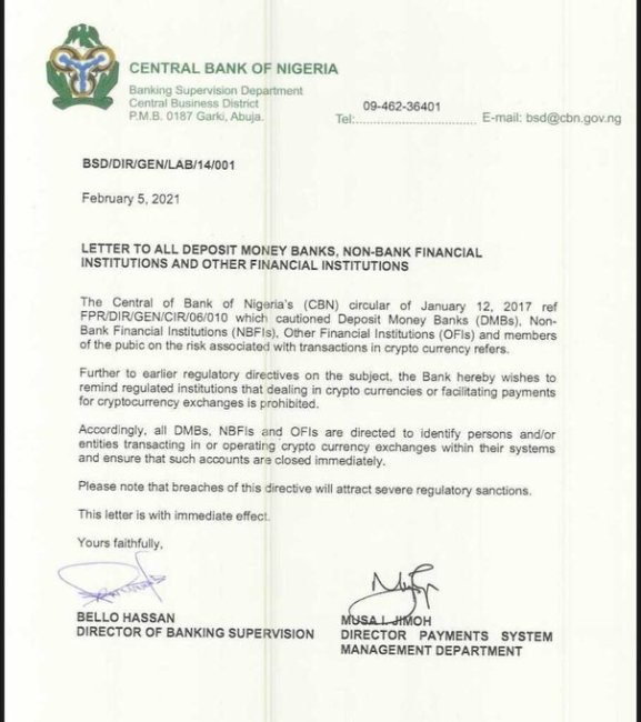 Central Bank of Nigeria directs financial institutions to close all accounts for cryptocurrency trading