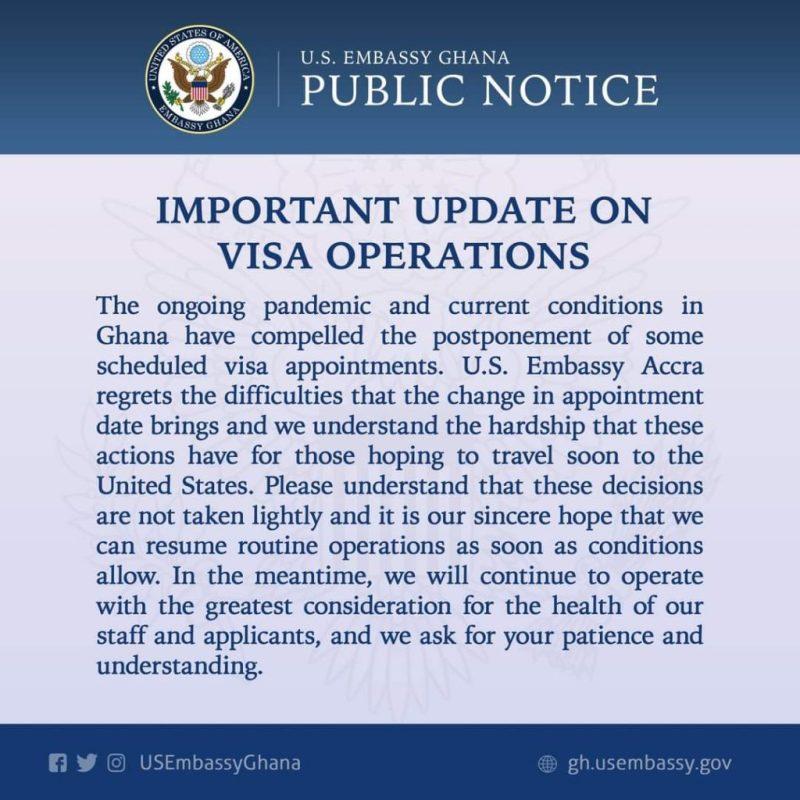 U.S Embassy in Ghana postpones scheduled visa appointments over COVID-19