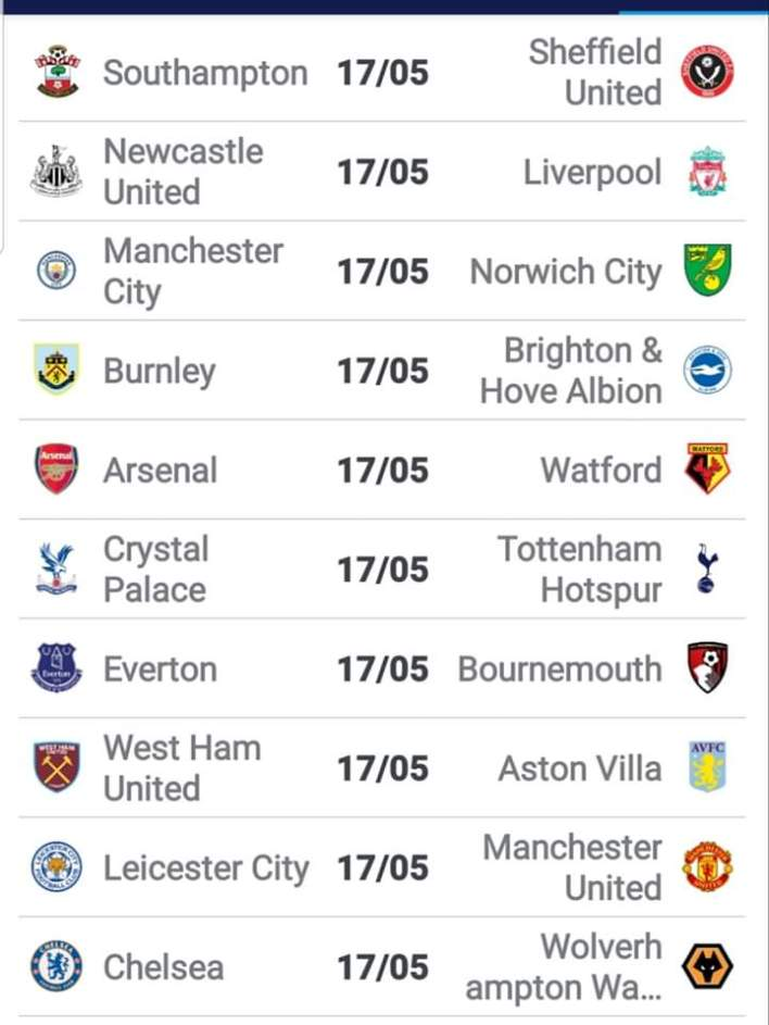 English Premier league set to restart on 17th June.