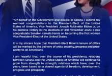 Prez. Akufo-Addo Sends His Congratulatory Message To America President-Elect, Joe Biden