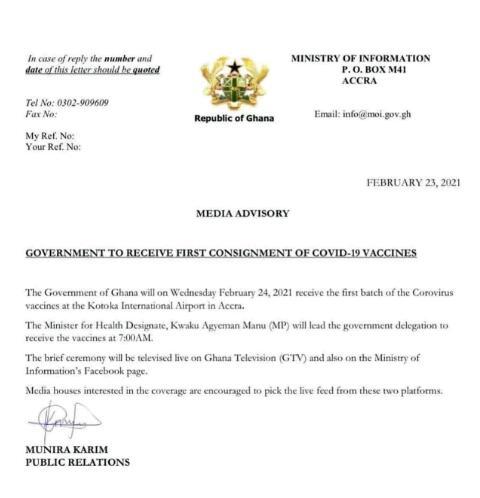 Ghana's 1st COVID-19 Vaccine Arrives At KIA