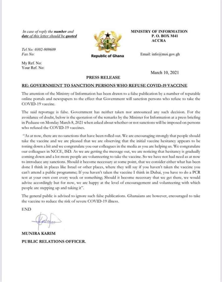 RE: Government To Sanction Persons Who Refuse Covid-19 Vaccine
