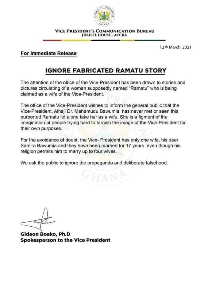 'I Have One Wife Samira Bawumia, Ignore Fabricated Ramatu Story' - Dr. Mahamudu Bawumia