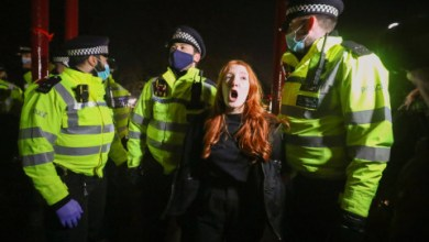 demonstrators defying Covid restrictions clashed with police while trying to hold a vigil for Sarah Everard.