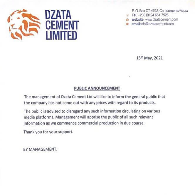 Management Of Dzata Cement Debunks Rumor Of Price List For Their Product