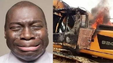 GalamseyFight: Tears Follow Man After Seeing His Excavator On Fire