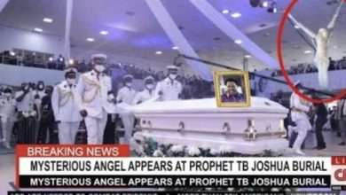 Wow! 😯 Mysterious Angel appears at TB Joshua's burial service?