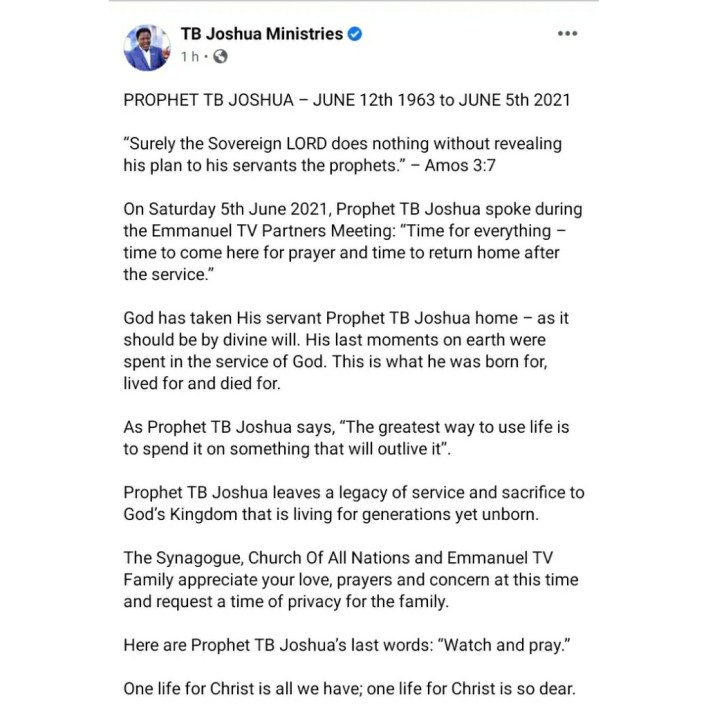 Prophet T.B Joshua last words to his church, 'watch and pray'