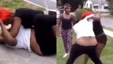 Watch Video: Two fat women f!&t on a street over a man