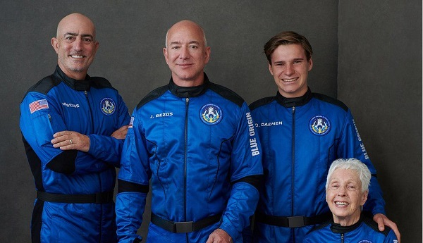 Jeff Bezos launches to space aboard rocket ship