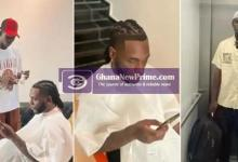 Young man who went viral for his top-notch barbing skill becomes Burna Boy's barber [Photos]