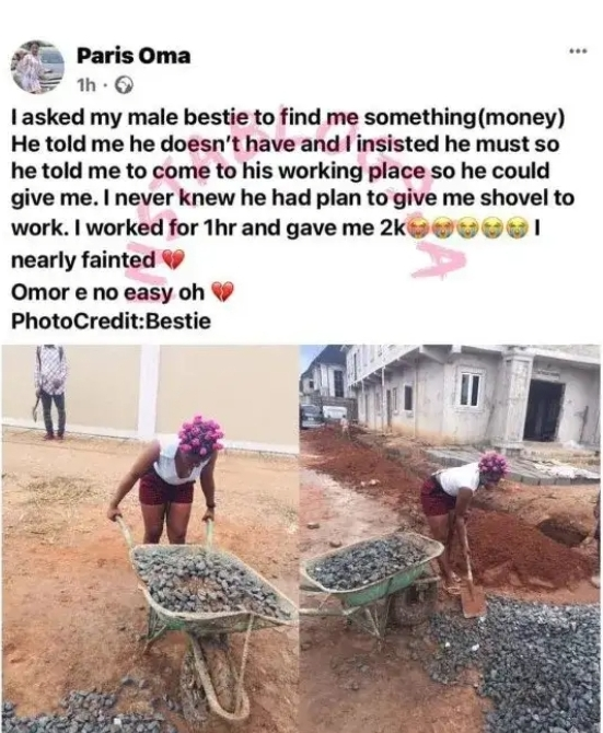 Man takes his girlfriend to work as labourer after she asked him for 2k [Photos]