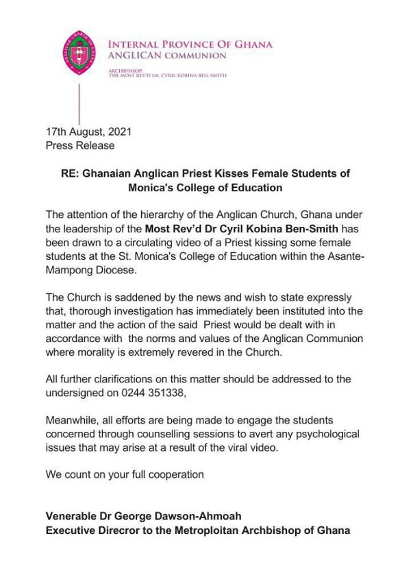 Anglican Church Ghana Releases Wild Statement On Their Reverend Father Who Kissed Female Students