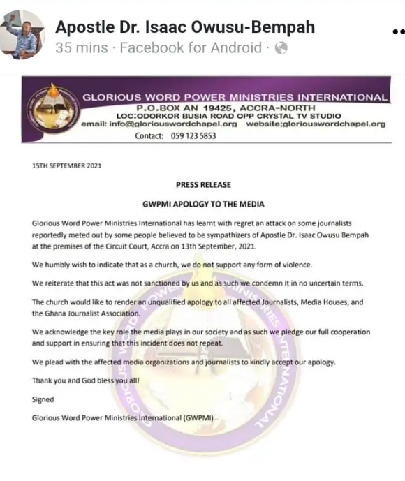 Rev. Owusu Bempah Sends a Message To Ghanaians After Granted Bail