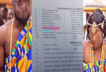 Marriage proposal lis that Shocks Ghanaians
