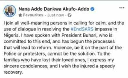 Akufo-Addo finally reacts to #ENDSARS protest 1
