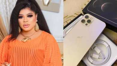 Photo of Bobrisky puts her new iPhone 12 Pro on display (Screenshot)