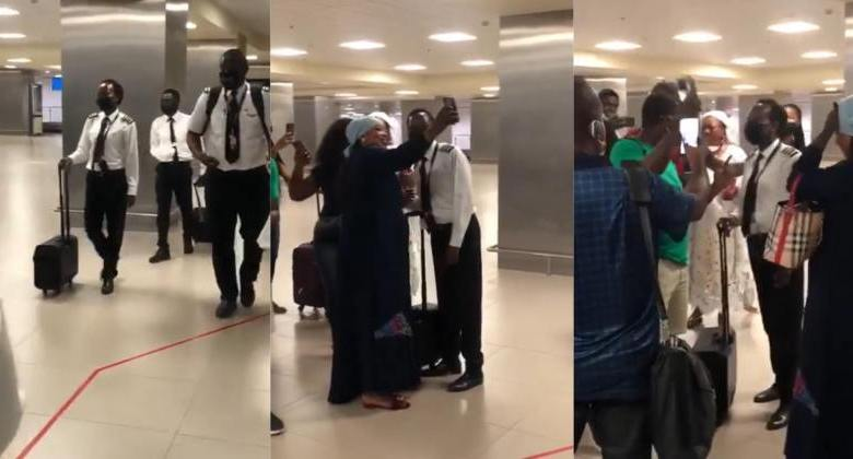 Ghanaian female pilot celebrated for landing safely despite weather conditions - Watch Video - Ghanaown.com
