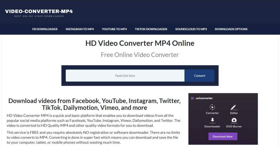 Video-converter-mp4.com How to Download videos from Facebook, YouTube or Instagram, Vimeo