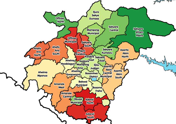 Map of Ashanti Region