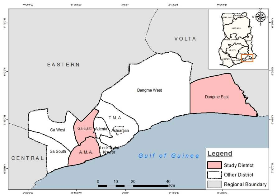 Map of Greater Accra Region