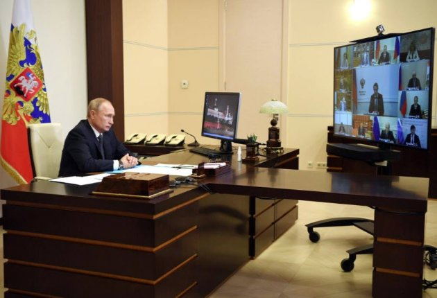Russian President Vladimir Putin chairs a meeting with members of the government via video link. Image / THIRD PARTY (REUTERS)