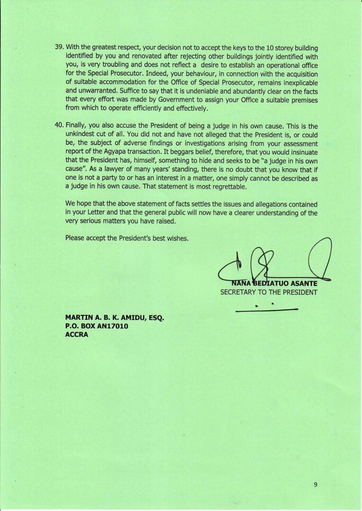 Akuffo Addo replies Martin Amidu last page
