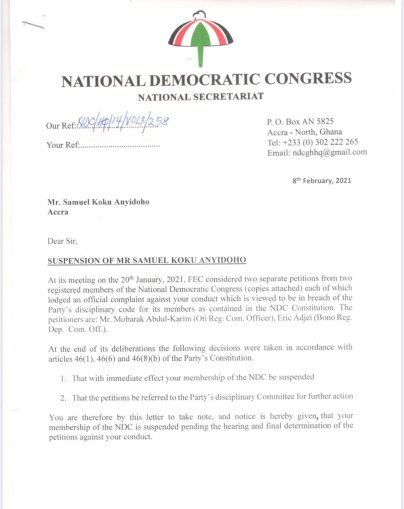 Koku Anyidoho suspension letter