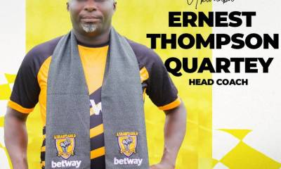 OFFICIAL : Ashantigold confirm the appointment of Ernest Thompson Quartey as new head coach