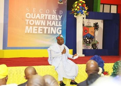 Ambode addressing Lagosians