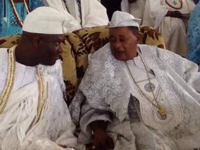 Ooni of Ife, Oba Ogunwusi, on Sunday, became the first Ooni to visit Oyo town since 1937. He visited the Alaafin of Oyo, Oba Lamidi Adeyemi III, to grace his 45th coronation anniversary thanksgiving, held at the Methodist Church, Apaara, Oyo State.