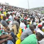 Cape Coast stadium filled beyond capacity, thousands still seek entry